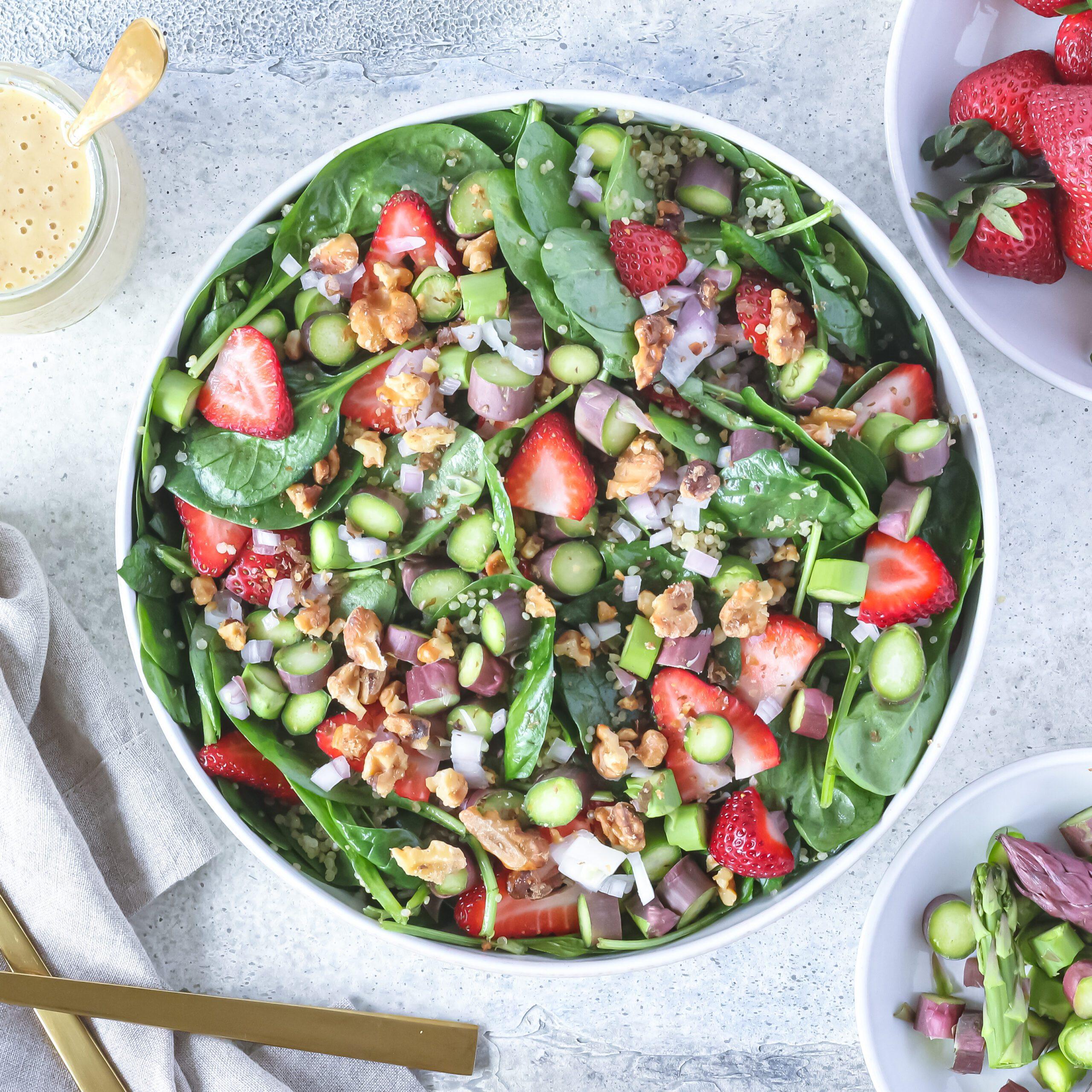 Strawberry & Asparagus Quinoa Salad with Maple Vinaigrette Dressing