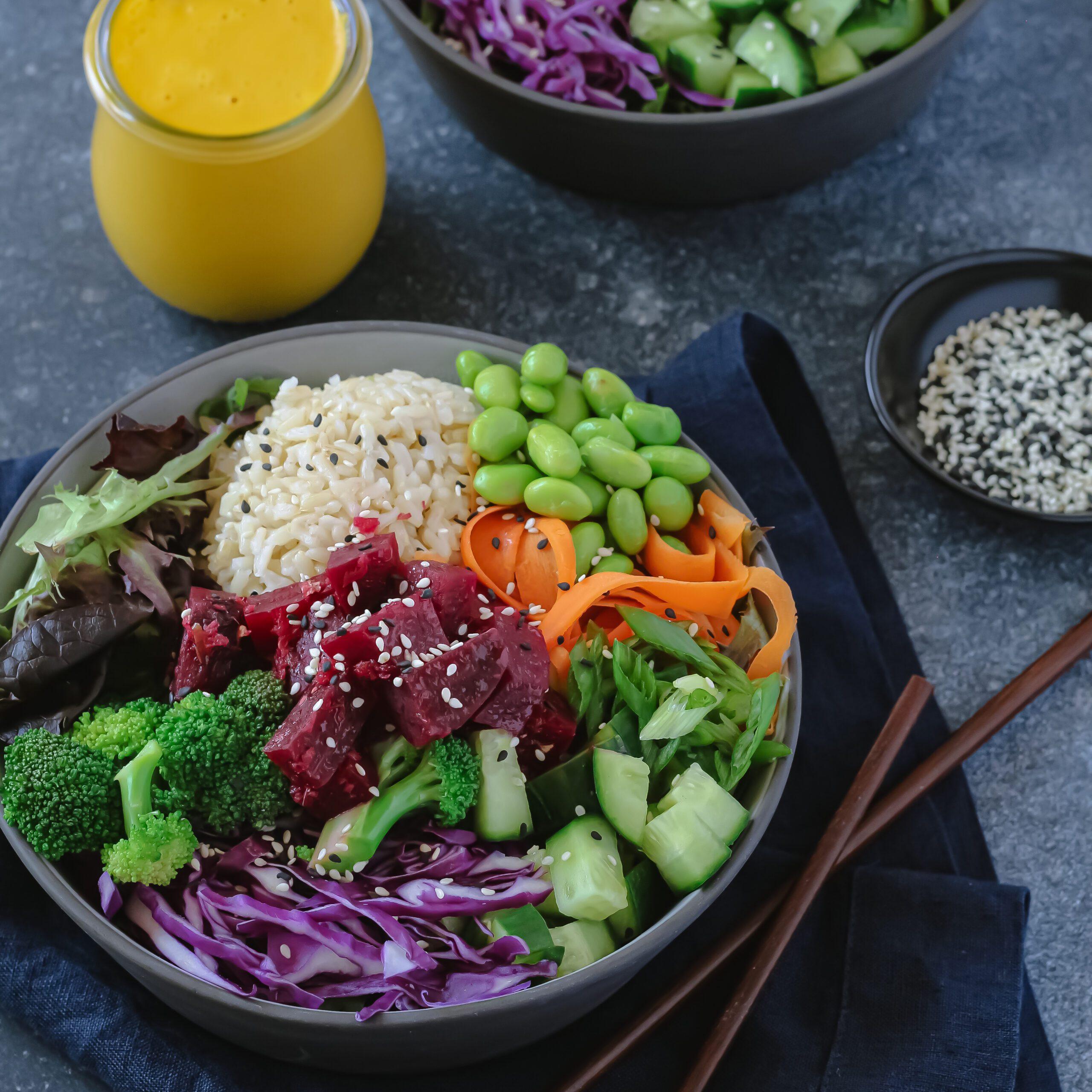 Vegetarian Beet Poke Bowl with Carrot Ginger Dressing